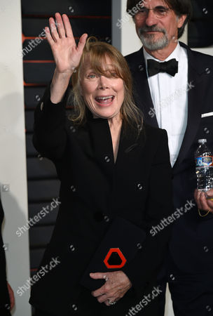 Sissy Spacek, left, and Jack Fisk arrive at the Vanity Fair Oscar Party, in Beverly Hills, Calif