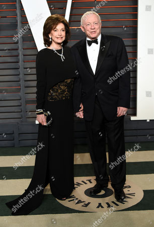 Stock Photo of Eugenia Jones, left, and Jerry Jones arrive at the Vanity Fair Oscar Party, in Beverly Hills, Calif