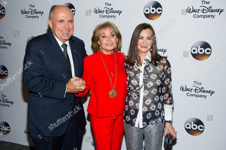 Rudy Giuliani, from left, Barbara Walters and Judith Nathan attend A Celebration of Barbara Walters at the Four Seasons Restaurant on in New York