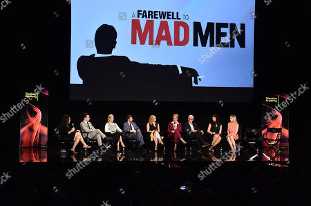 Debra Birnbaum, and from left, Jon Hamm, January Jones, Vincent Kartheiser, Elisabeth Moss, Christina Hendricks, John Slattery, Jessica Paré and Kiernan Shipka are seen at A Farewell to Mad Men presented by the Television Academy at The Montalban on in Hollywood, Calif