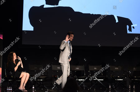 Debra Birnbaum, left, and Jon Hamm are seen at A Farewell to Mad Men presented by the Television Academy at The Montalban on in Hollywood, Calif