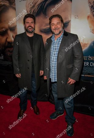 Stock Image of Producer Keith Rodger and actor and director Russell Crowe make an appearance on the red carpet for the Chicago premiere of The Water Diviner at the ShowPlace ICON Theatre, on in Chicago