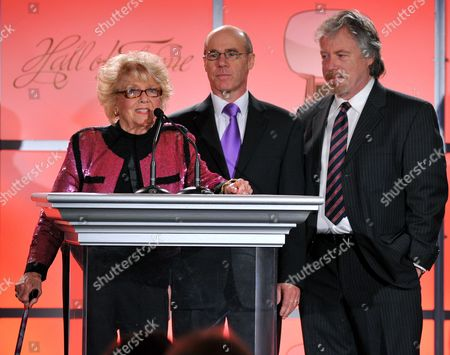 MARCH 1: (L-R) Doris Singleton, Barry Livingston and Stan Livingston onstage at the cocktail reception at the Academy of Television Arts & Sciences 21st Annual Hall of Fame Ceremony at the Beverly Hills Hotel on in Beverly Hills, California