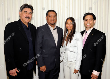 """BEVERLY HILLS, CA - MAY 3: (L-R) Executive Producer, Dennis Leoni, Senior Vice President Programming & Production, Mun2, Flavio Morales, President, Espada PR, Jasmine Espada and actor/host Danny Arroyo attend the Academy of Television Arts & Sciences' Diversity Committee Presents """"HOLA! - The Phenomenal Growth of Latino Television"""" at the SLS Hotel at Beverly Hills on in Beverly Hills, California"""