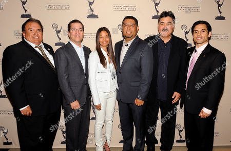 """BEVERLY HILLS, CA - MAY 3: (L-R) Emeritus President, Nosotros, Jerry Velasco, Chairman and CEO, Academy of Television Arts & Sciences, Bruce Rosenblum, President, Espada PR, Jasmine Espada, Senior Vice President Programming & Production, Mun2, Flavio Morales, Executive Producer, Dennis Leoni and actor/producer Danny Arroyo attend the Academy of Television Arts & Sciences' Diversity Committee Presents """"HOLA! - The Phenomenal Growth of Latino Television"""" at the SLS Hotel at Beverly Hills on in Beverly Hills, California"""