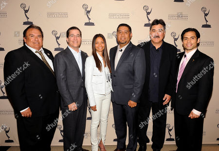 "BEVERLY HILLS, CA - MAY 3: (L-R) Emeritus President, Nosotros, Jerry Velasco, Chairman and CEO, Academy of Television Arts & Sciences, Bruce Rosenblum, President, Espada PR, Jasmine Espada, Senior Vice President Programming & Production, Mun2, Flavio Morales, Executive Producer, Dennis Leoni and actor/producer Danny Arroyo attend the Academy of Television Arts & Sciences' Diversity Committee Presents ""HOLA! - The Phenomenal Growth of Latino Television"" at the SLS Hotel at Beverly Hills on in Beverly Hills, California"