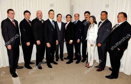 "BEVERLY HILLS, CA - MAY 3: (L-R) COO, Lieberman Broadcasting, Winter Horton, President and GM, Telemundo, KVEA, Jose Cancela, Senior Vice President and GM, Univision LA, Alberto Mier Y Teran, President of FOX International Channels, Hernan Lopez, Chairman and CEO, Academy of Television Arts & Sciences, Bruce Rosenblum, actor/producer Danny Arroyo, COO, Academy of Television Arts & Sciences, Alan Perris, Executive Producer, Dennis Leoni, President, Espada PR, Jasmine Espada, Senior Vice President Programming & Production, Mun2, Flavio Morales and Emeritus President, Nosotros, Jerry Velasco attend the Academy of Television Arts & Sciences' Diversity Committee Presents ""HOLA! - The Phenomenal Growth of Latino Television"" at the SLS Hotel at Beverly Hills on in Beverly Hills, California"
