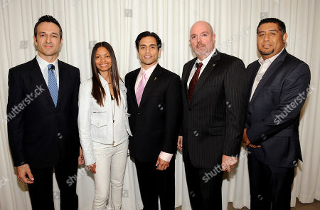 "BEVERLY HILLS, CA - MAY 3: (L-R) President of FOX International Channels, Hernan Lopez, President, Espada PR, Jasmine Espada, actor/host Danny Arroyo, Senior Vice President and GM, Univision LA, Alberto Mier Y Teran and Senior Vice President Programming & Production, Mun2, Flavio Morales attend the Academy of Television Arts & Sciences' Diversity Committee Presents ""HOLA! - The Phenomenal Growth of Latino Television"" at the SLS Hotel at Beverly Hills on in Beverly Hills, California"
