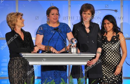 """MAY 2: (L-R) Executive producers Gini Reticker, Abigail Disney, Pamela Hogan, and senior producer Nina Chaudry accept the Academy honor award for """"Women, War & Peace"""" onstage at the Academy of Television Arts & Sciences Presents """"The 5th Annual Television Academy Honors"""" at the Beverly Hills Hotel on in Beverly Hills, California"""