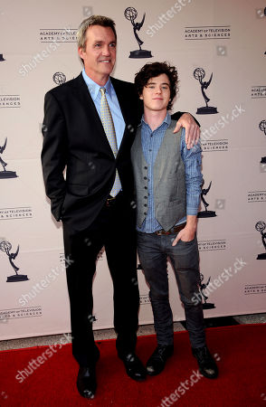 """MARCH 26: Actors Neil Flynn (L) and Charlie McDermott arrive at the Academy of Television Arts & Sciences Presents an Evening with """"The Middle"""" on in North Hollywood, California"""