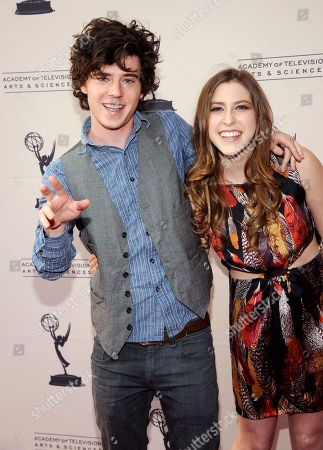 """MARCH 26: Actors Charlie McDermott (L) and Eden Sher arrive at the Academy of Television Arts & Sciences Presents an Evening with """"The Middle"""" on in North Hollywood, California"""
