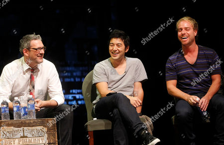 From left, Michael Lebowitz, Founder and CEO of Big Spaceship, Rei Inamoto, Chief Creative Officer of AKQA, and Philippe Meunier, Creative Director of Sid Lee, participate in a panel at Advertising Week on in New York