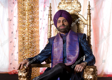 Rez Kempton, who plays Akbar, during filming on the set of Amar Akbar & Tony, an independent British Asian production by writer and director Atul Malhotra, at Newlands Manor in Buckinghamshire