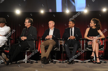 From left, Garry Trudeau, Matt Malloy, Mark Consuelos, Yara Martinez of Alpha House are seen at the Television Academy presents Amazon Studios, on at the Leonard H. Goldenson Theatre in North Hollywood, Calif