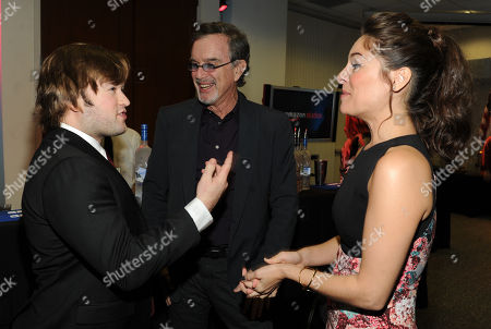 From left, Haley Joel Osment, Garry Trudeau, creator and executive producer of Alpha House, and Yara Martinez are seen at the Television Academy presents Amazon Studios, on at the Leonard H. Goldenson Theatre in North Hollywood, Calif