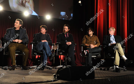 From left, producer Alan Freedland, producer Alan Cohen, Jonathon C. Daly, Charlie Saxton, and Ed Begley Jr. of Betas are seen at the Television Academy presents Amazon Studios, on at the Leonard H. Goldenson Theatre in North Hollywood, Calif
