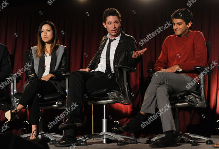 From left, Maya Erskine, Joe Dinicol, and Karan Soni of Betas are seen at the Television Academy presents Amazon Studios, on at the Leonard H. Goldenson Theatre in North Hollywood, Calif