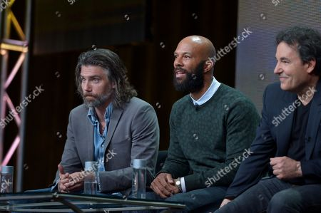 From left, actors Anson Mount, Common, and creator John Wirth on the 'Hell on Wheels' panel at AMC TCA Panel at the Beverly Hilton on Friday, July 26th, 2013 in Beverly Hills, Calif