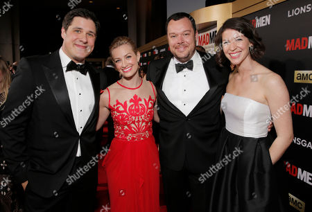 "Rich Sommer, from left, Beth Behrs, Michael Gladis and Virginia Donohoe arrive at AMC's Black & Red Ball to celebrate the final episodes of ""Mad Men"" at Dorothy Chandler Pavilion, in Los Angeles"