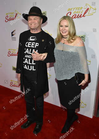"""Stock Image of Micky Dolenz, of the musical group The Monkees, left, and Donna Quinter arrive at AMC's Los Angeles premiere of """"Better Call Saul"""" at Regal Cinemas LA Live on"""