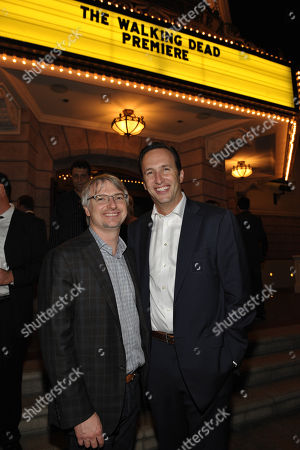 "Glen Mazzara, left, and Charlie Collier, President & General Manager, AMC, attend the premiere of ""The Walking Dead"" at Universal Studios, in Los Angeles"
