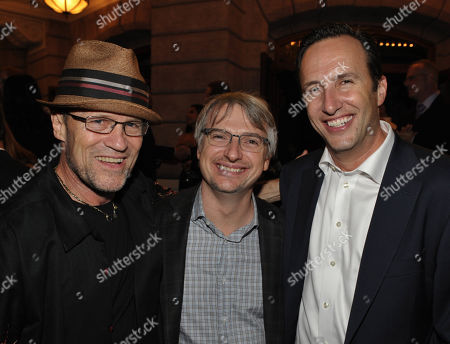 "From left, Michael Rooker, Glen Mazzara, and Charlie Collier, President & General Manager, AMC, attend the premiere of ""The Walking Dead"" at Universal Studios, in Los Angeles"