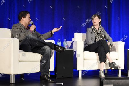 Richard Botto, Founder & CEO of Stage 32, and Zanne Devine, EVP of Film & Television at Miramax, speak at the American Film Market Finance Conference II: Producing Studio Films with Independent Budgets at the Fairmont Hotel, in Santa Monica, Calif