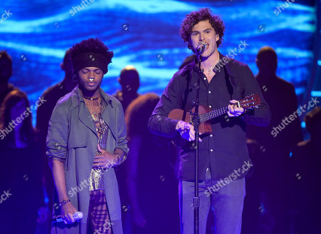 Stock Picture of Quentin Alexander, left, and Vance Joy perform at the American Idol XIV finale at the Dolby Theatre, in Los Angeles