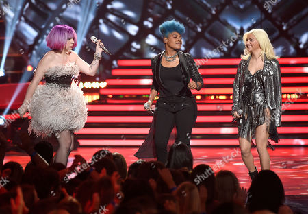 Joey Cook, from left, Tyanna Jones and Jax perform at the American Idol XIV finale at the Dolby Theatre, in Los Angeles