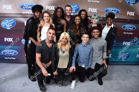 "The final 12 (back row, l-r), Quentin Alexander, Maddie Walker, Adanna Duru, Clark Beckham, Sarina-Joi Crowe, Joey Cook and Tyanna Jones, (front row, l-r) Nick Fradiani, Jax, Daniel Speavey and Rayvon Owen arrive at the ""American Idol XIV"" finalists party at The District by Hannah An on Wednesday, Mar. 11th in Los Angeles"