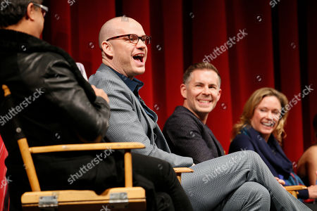 """From left to right, executive producer, showrunner and co-creator Peter Paige, executive producer, showrunner, and co-creator Bradley Bredeweg, and executive producer and showrunner Joanna Johnson, participate in a panel at """"An Evening with the Fosters"""" presented by the Television Academy at the El Portal Theatre on in the NoHo Arts District in Los Angeles"""
