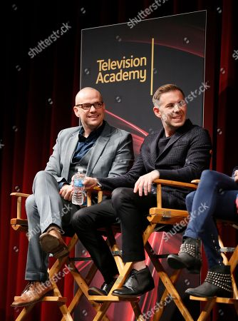 """Executive producer, showrunner and co-creator Peter Paige, left, and executive Producer, showrunner, and co-Creator Bradley Bredeweg, right, participate in a panel at """"An Evening with the Fosters"""" presented by the Television Academy at the El Portal Theatre on in the NoHo Arts District in Los Angeles"""