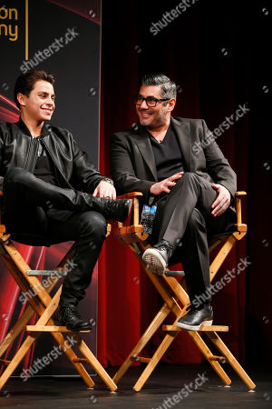 "Actor Jake T. Austin, left, and actor Danny Nucci, right, participate in a panel at ""An Evening with the Fosters"" presented by the Television Academy on in the NoHo Arts District in Los Angeles"