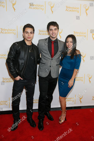 """Jake T. Austin, left, David Lambert, center, and Cierra Ramirez, right pose at """"An Evening with the Fosters"""" presented by the Television Academy at the El Portal Theatre on in the NoHo Arts District in Los Angeles"""