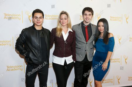 """From left to right, Jake T. Austin, Teri Polo, David Lambert, and Cierra Ramirez, right pose at """"An Evening with the Fosters"""" presented by the Television Academy at the El Portal Theatre on in the NoHo Arts District in Los Angeles"""