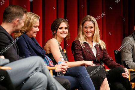 """From left to right, executive producer, showrunner, and co-creator Bradley Bredeweg, executive producer and showrunner Joanna Johnson, actress Maia Mitchell, and actress Teri Polo participate in a panel at """"An Evening with the Fosters"""" presented by the Television Academy at the El Portal Theatre on in the NoHo Arts District in Los Angeles"""
