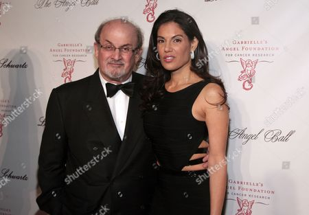 Author Salman Rushdie, left, and fashion designer Missy Brody, right, attend Angel Ball 2013 on in New York