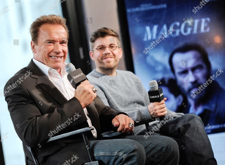 "Actor Arnold Schwarzenegger and director Henry Hobson participate in AOL's BUILD Speaker Series to discuss their new film ""Maggie"", at the AOL Studios, in New York"
