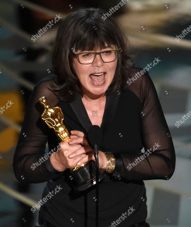 Margaret Sixel accepts the award for best film editing for â?oeMad Max: Fury Roadâ?? at the Oscars, at the Dolby Theatre in Los Angeles