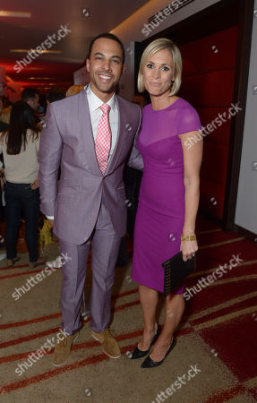 Stock Photo of Marvin Humes and Jenny Falconer are seen at the Arqiva Commercial Radio Awards in London on