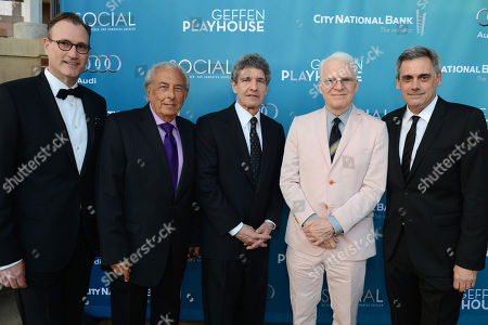 Ken Novice, managing director of Geffen Playhouse, and from left, Frank Mancuso, chairman and board of directors of Geffen Playhouse, Alan Horn, chairman of The Walt Disney Studios, Steve Martin and Randall Arney, artistic director of Geffen Playhouse, attend Backstage At The Geffen Gala, in Los Angeles