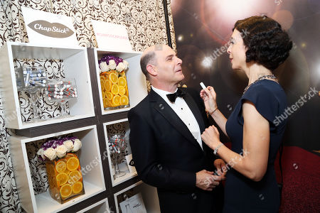 Matthew Weiner, left, and Linda Brettler in Backstage Creations Giving Suites at the 67th Primetime Emmy Awards at the Microsoft Theatre L.A. Live, in Los Angeles