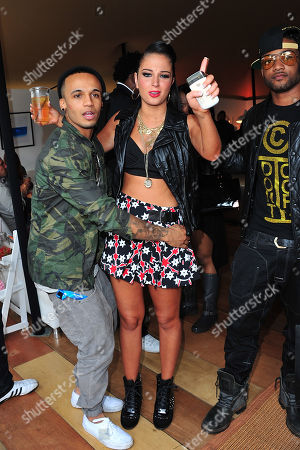 L-R) Aston Merrygold, Tulisa Contostavlos and Ortise Williams attend the Barclaycard Unwind Lounge at Day 2 of the Barclaycard Wireless Festival, in London, United Kingdom
