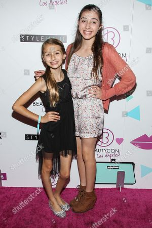 From left, actresses Sophia and Victoria Strauss arrives at BeautyCon Summit Hollywood at Siren Studios on in Los Angeles