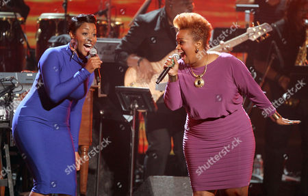 Stock Photo of Jessica Reedy, left, and Amber Bullock perform at the BET Awards, in Los Angeles