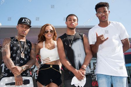 Stock Picture of Bow Wow, from left, Keshia Chante, Diggy Simmons and Trevor Jackson appear on stage at the BET Experience - 106 and Park Live, in Los Angeles