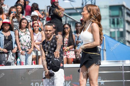 Bow Wow, left, and Keshia Chante appear onstage at the BET Experience - 106 and Park Live, in Los Angeles