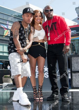 Stock Image of From left, Bow Wow, Keshia Chante, and Floyd Mayweather Jr. appear onstage at the BET Experience - 106 and Park Live, in Los Angeles