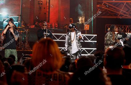 Flesh-n-Bone, Bizzy Bone, Crazy Bone and Wish Bone of Bone Thugs-n-Harmony performed at the 2013 BET Hip Hop Awards at the Atlanta Civic Center, in Atlanta, Ga