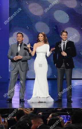 Daniel Sarcos, Marlene Favela, Rafael Amana hosts of the 2012 Billboard Mexican Music Awards at the Shrine Auditorium, in Los Angeles